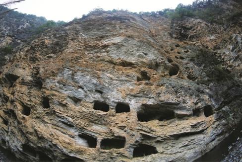 湖北百米峭壁现密集悬棺群 共有131具(图)
